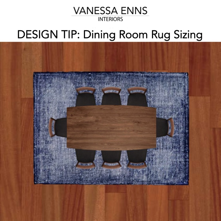 Vanessa Enns Interiors Dining Room Rug Sizing