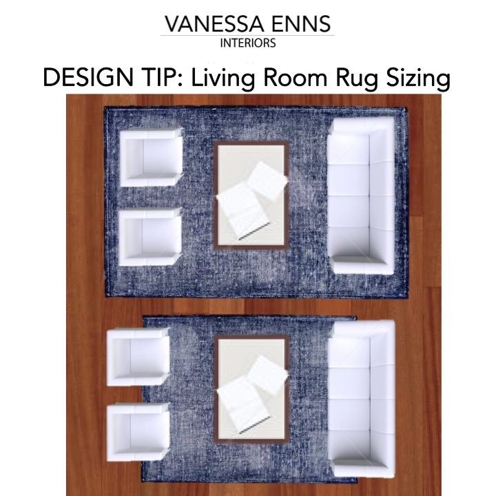 Vanessa Enns Interiors Living Room Rug Sizing
