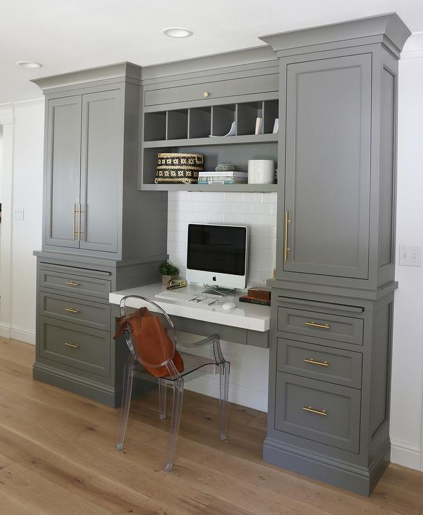 benjamin-moore-chelsea-gray-cabinets-desk-open-pigeon-hole-cubbies